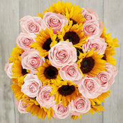 pink roses and sunflowers arrangement