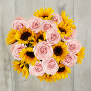 pink roses sunflowers