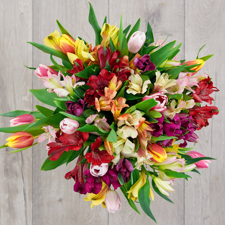 Tulips and Alstroemeria Mixed Bouquet