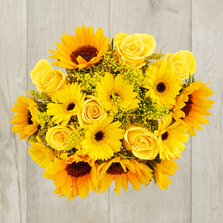 Sunflower, Rose, and Gerbera Mixed Bouquet