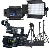 VIDEO COMBO KIT - Canon XA11 HD CAMCORDER + TRIPOD + Godox LED 500 Light Kit (2X 500 LED lights) Rental