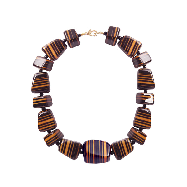 Black orange striped statement necklace