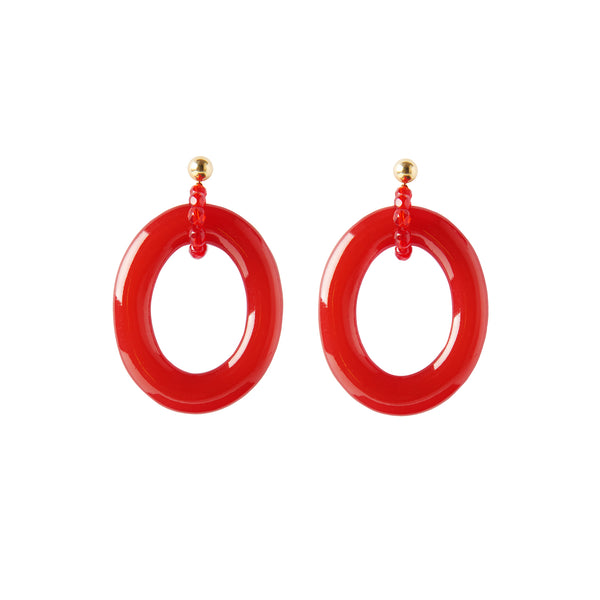 Red statement hoop earrings
