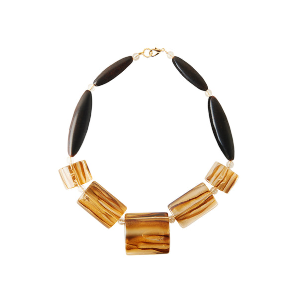 Animalier brown statement necklace