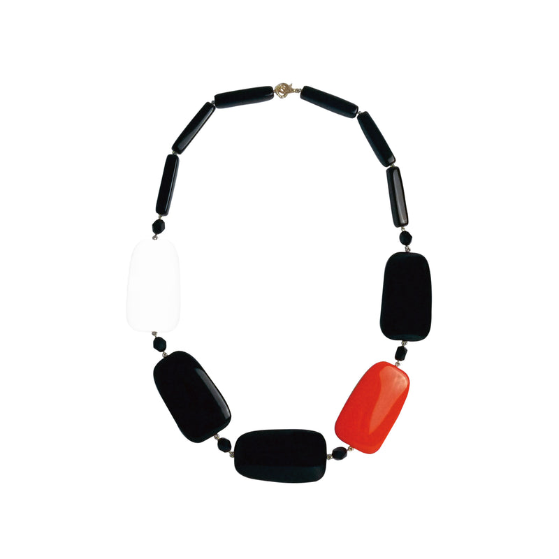 Black white red statement necklace