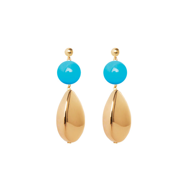 Blue gold statement earrings