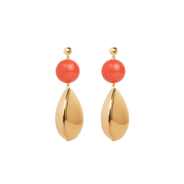 coral and gold drop statement earrings