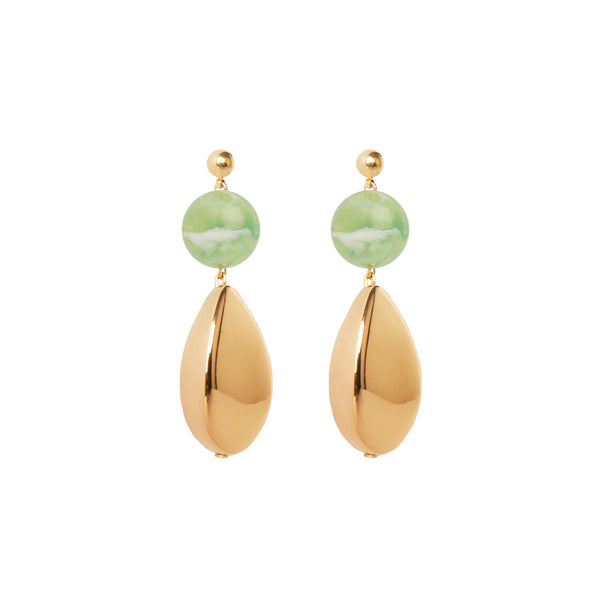 green and gold drop statement earrings
