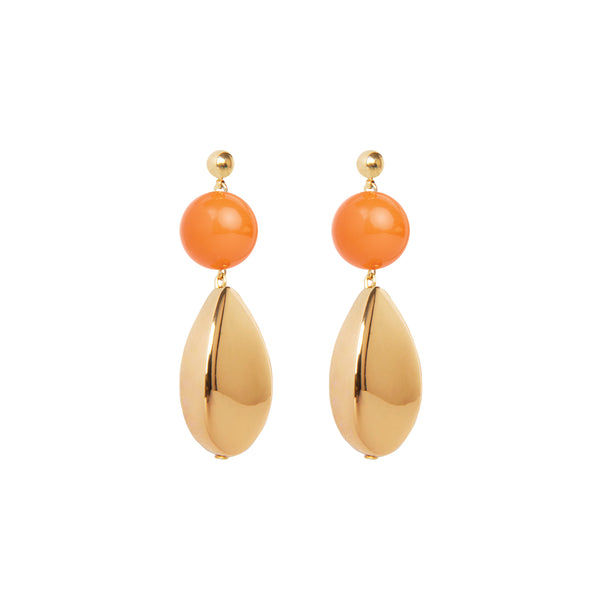 orange and gold drop statement earrings