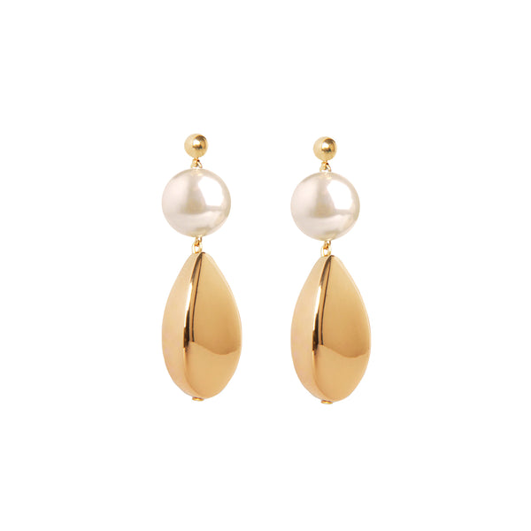 Pearl gold drop statement earrings