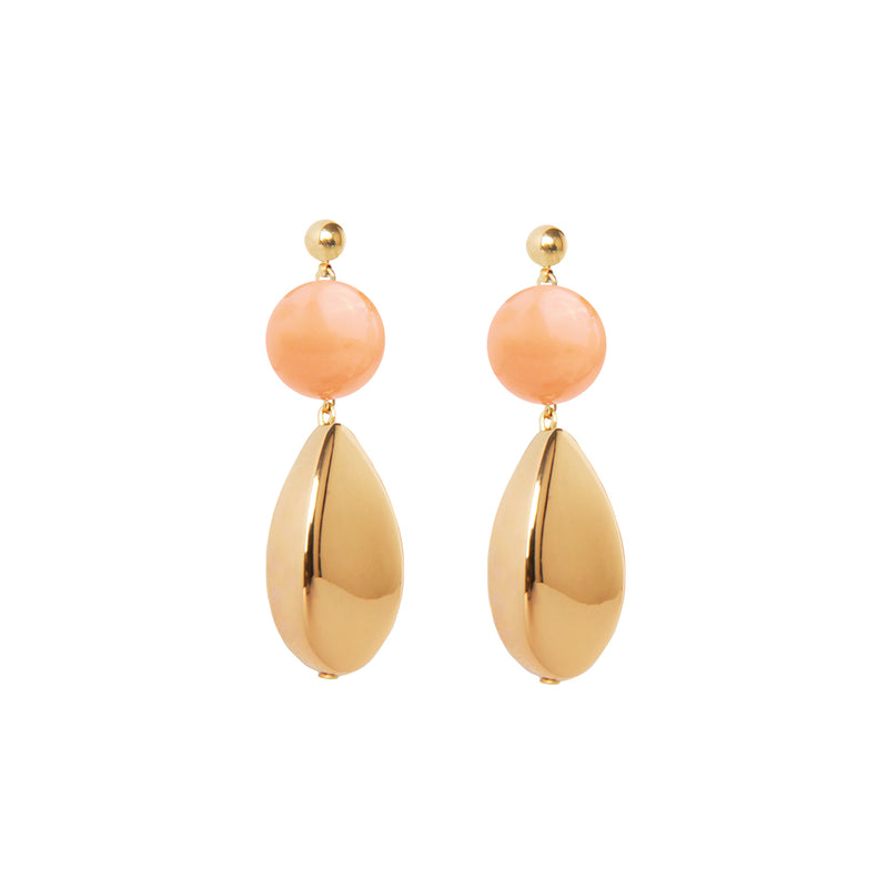 Pink burl gold statement earrings