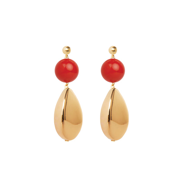 red gold statement drop earrings