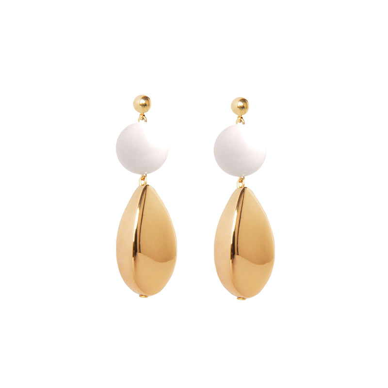 White and gold teardrop statement earrings