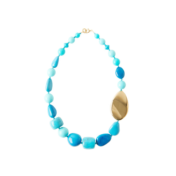 Blue turquoise gold statement necklace