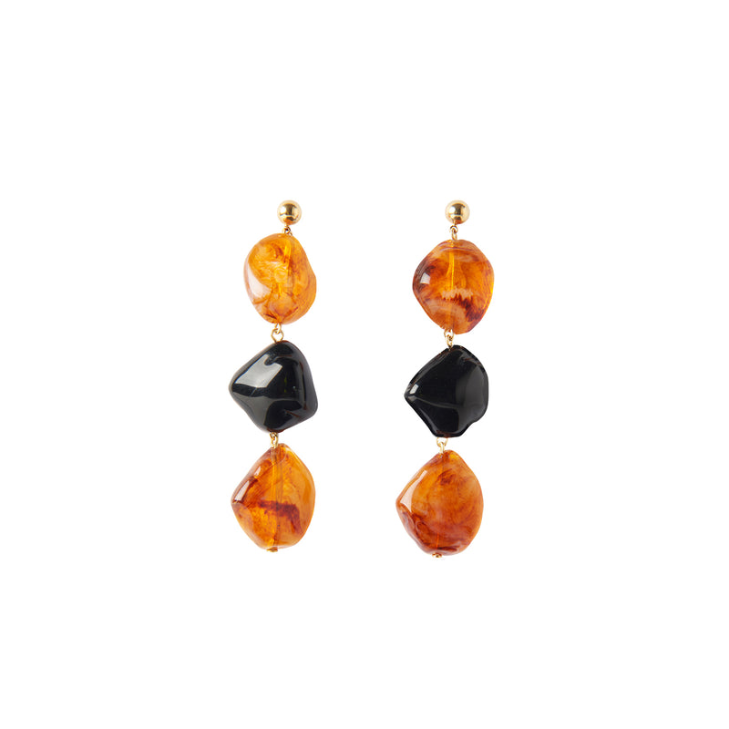 Amber black statement earrings
