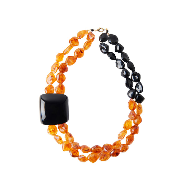 Amber black statement necklace