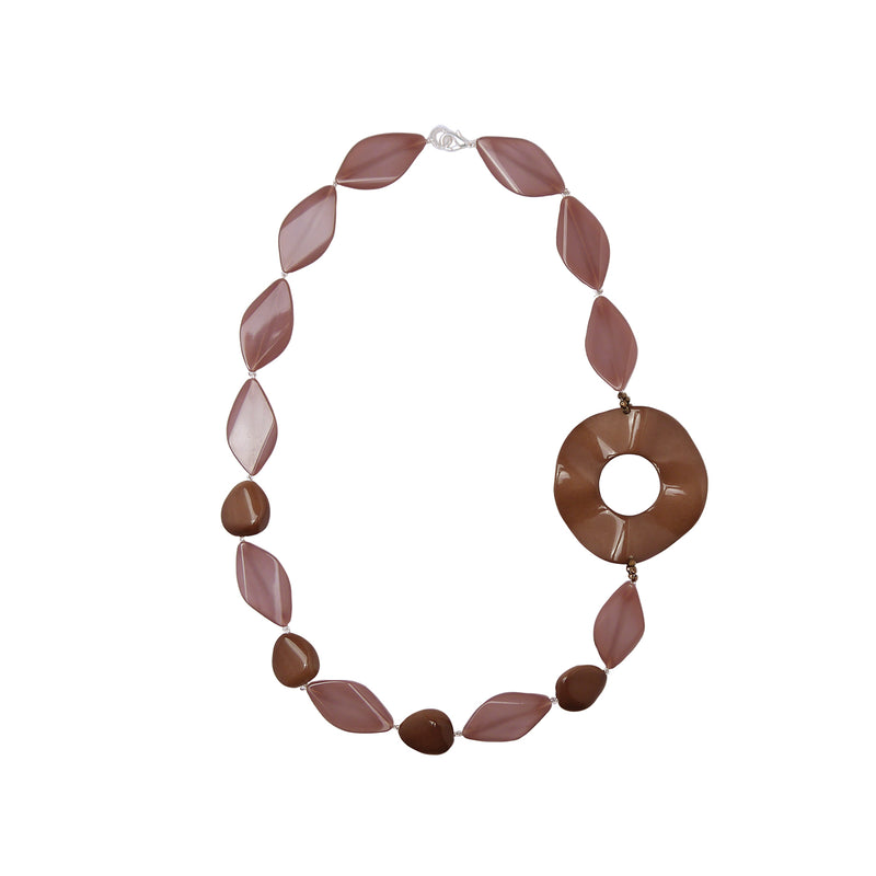 Beige brown statement necklace
