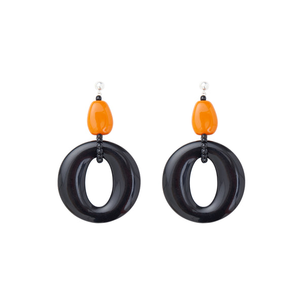 Black and orange hoops statement earrings