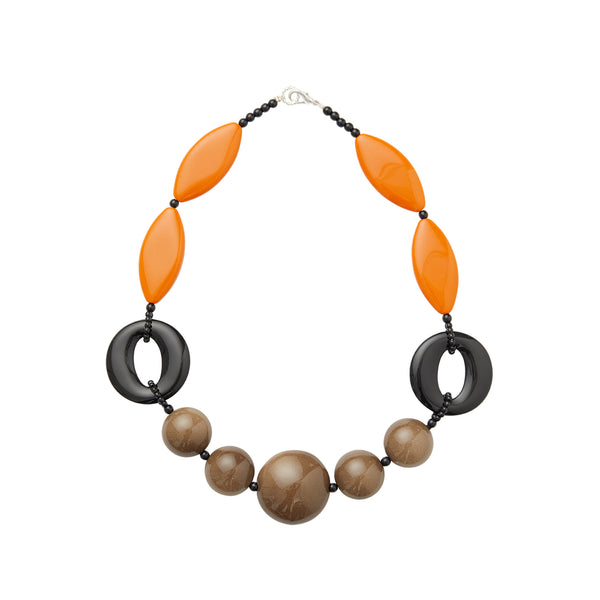 Orange brown black statement necklace