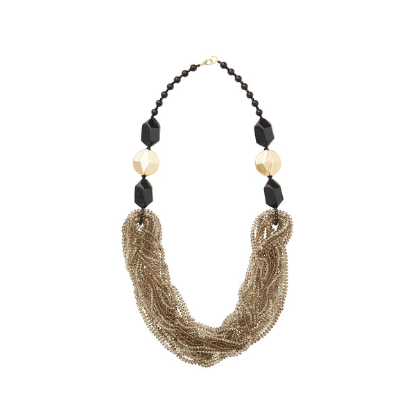 Black gold crystal statement necklace