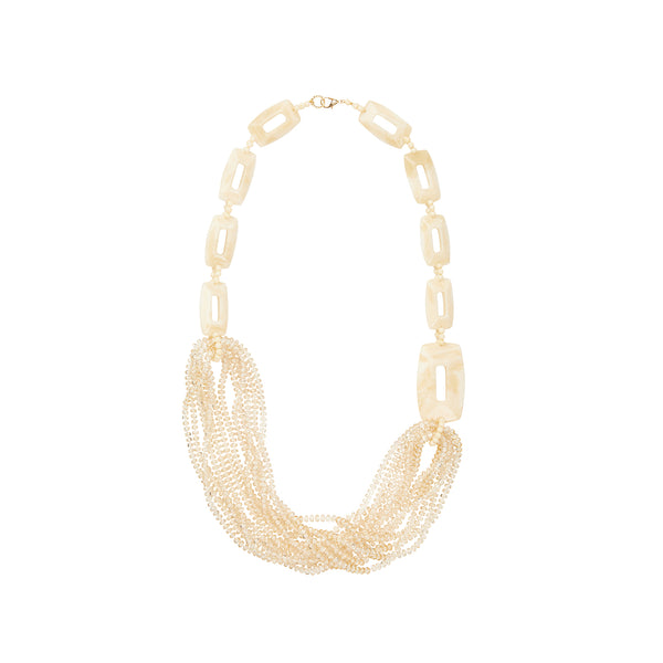 Ivory cream long crystal statement necklace
