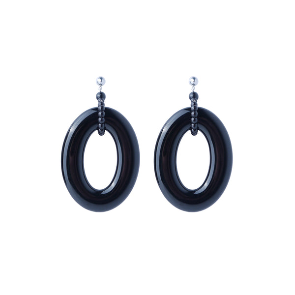 Black hoop statement earrings