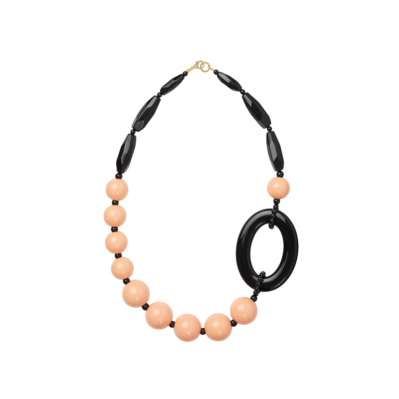 Pink black statement necklace