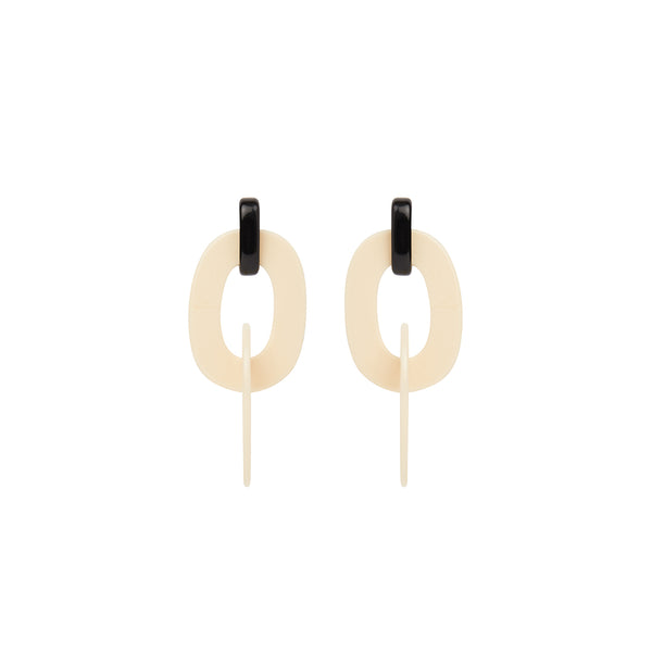 Cream black hoop statement earrings