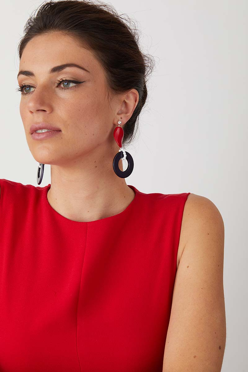 a pair of luxury Italian red, white and blue hoop statement earrings made of resin