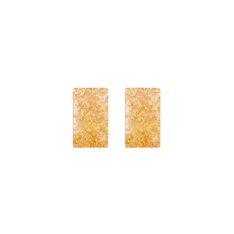 Gold leaf clip on statement earrings