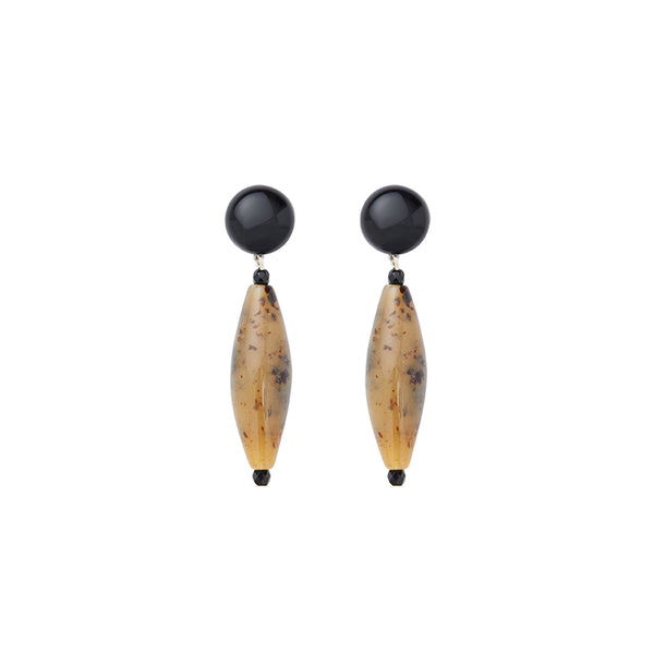Black brown animalier statement earrings