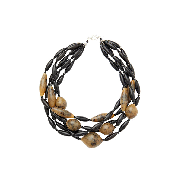 Black brown torchon statement necklace