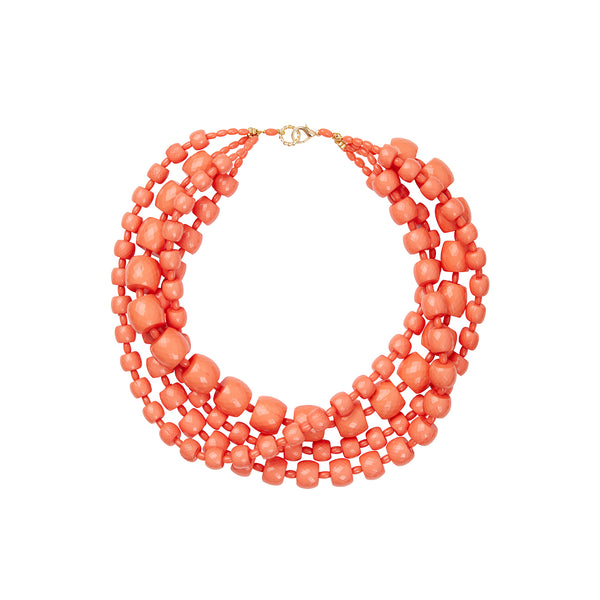 Orange coral multi layer torchon statement necklace