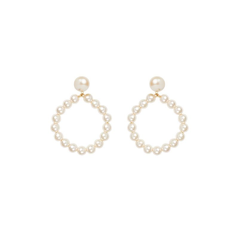 Pearl hoop clip on stud statement earrings