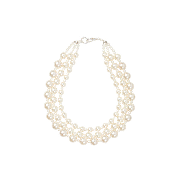 Pearl triple choker statement necklace