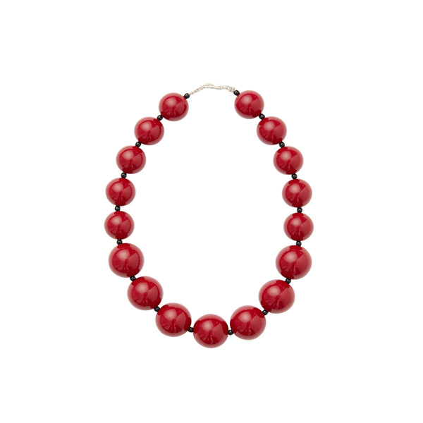 Burgandy red choker beaded statement necklace