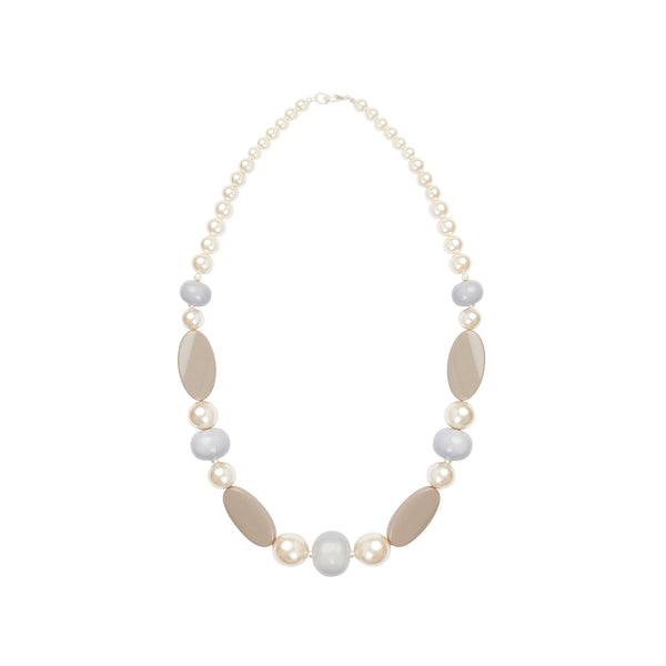 Pearl beige long statement necklace
