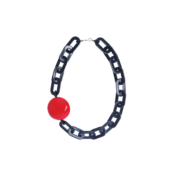 Black Red Chain statement necklace