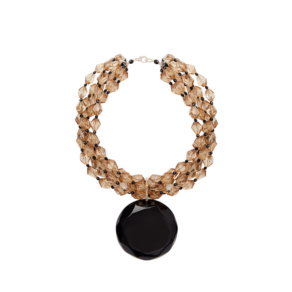 Crystal black multi layer gala statement necklace