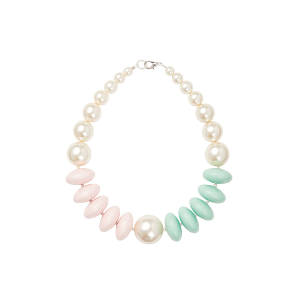Pearl green pink pastel statement necklace