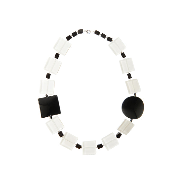 White black statement necklace