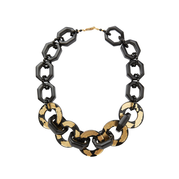 Black gold chain statement necklace