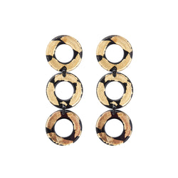 24K Gold and Black triple hoop with clip ons statement earrings