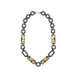 Black gold chain long statement necklace