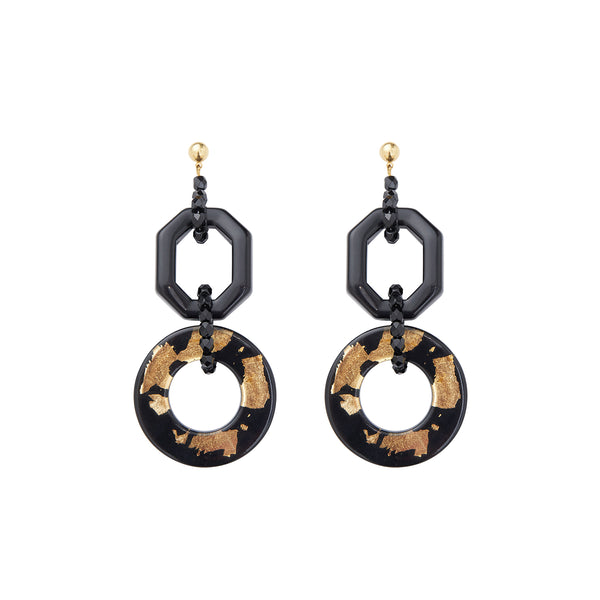24K Gold and Black double hoop statement earrings