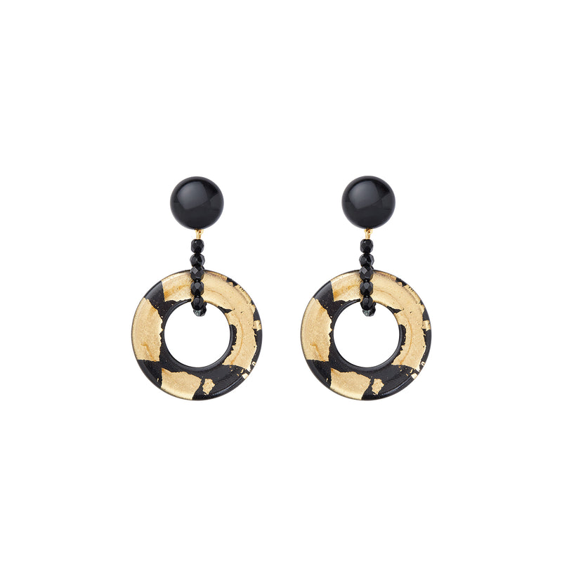 Black gold single hoop statement earrings
