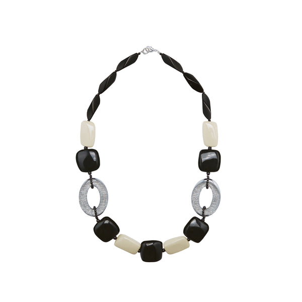 Black beige silver statement necklace