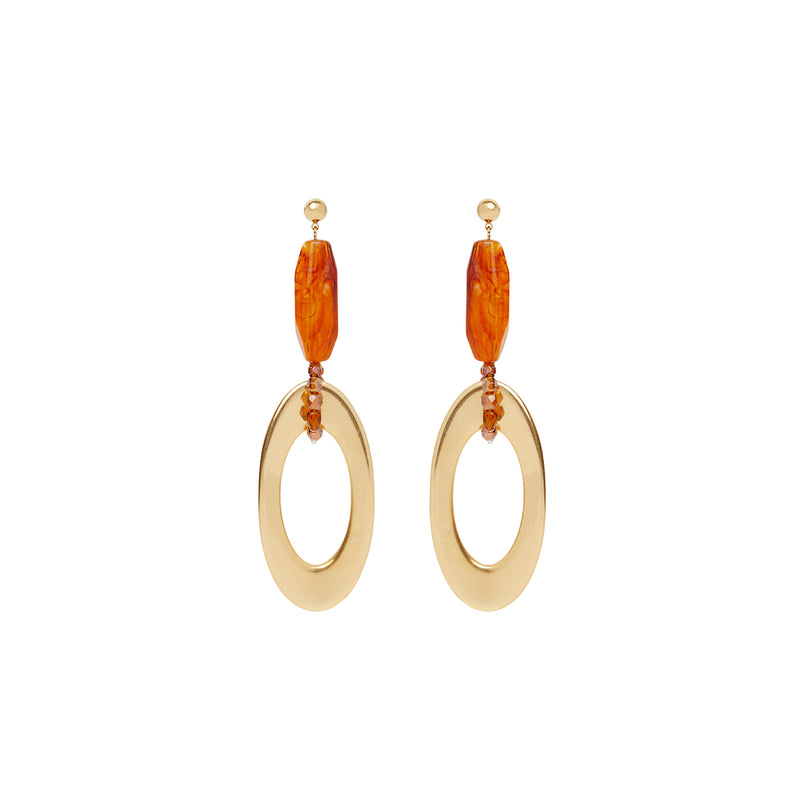 Gold amber drop statement earrings