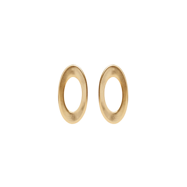 Oval Gold hoop statement earrings