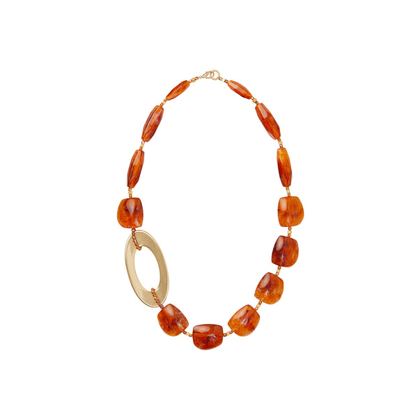 Amber gold statement necklace